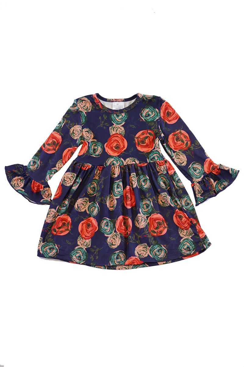 Navy floral ruffle dress - orangeshine.com