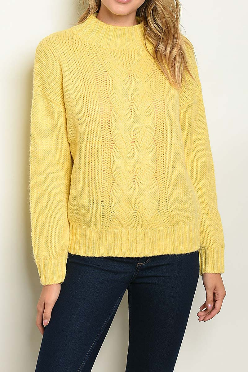 MOCK NECK CABLE KNIT SWEATER  - orangeshine.com