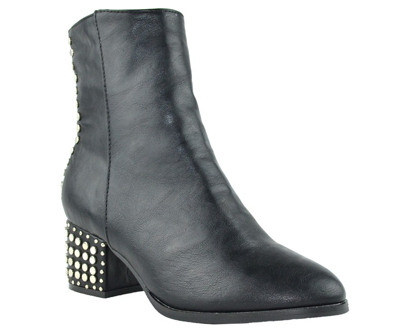 Women Studded Pointed Toe Ankle Boot - orangeshine.com