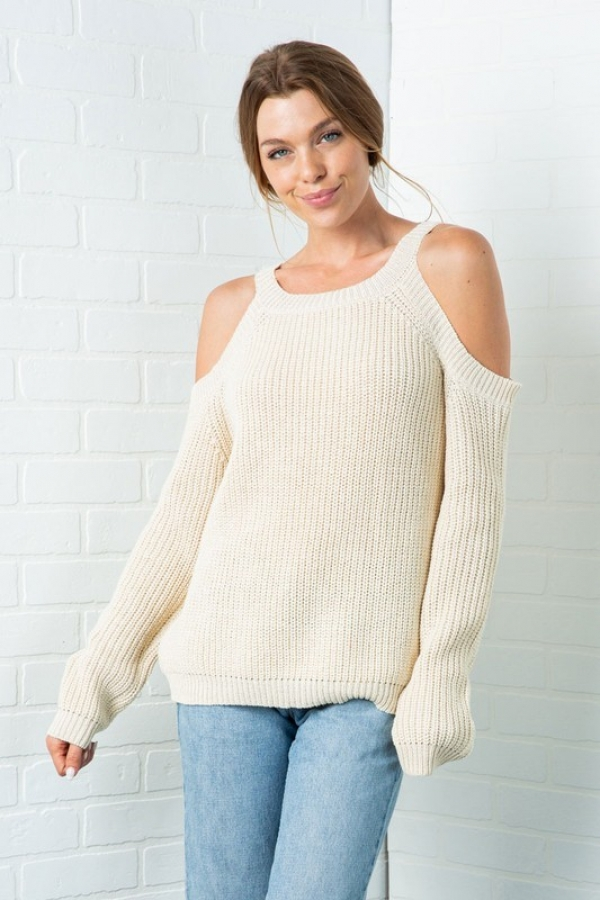 CHUNKY KNIT COLD SHOULDER SWEATER - orangeshine.com