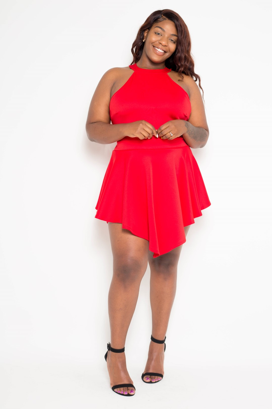 Plus Size Halter Neck Party Romper - orangeshine.com