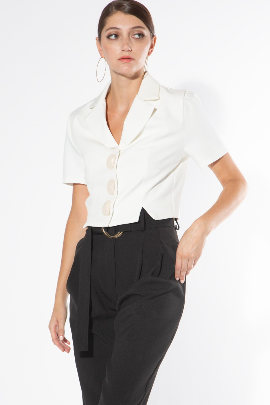 Cropped Blouse with Oversized Button - orangeshine.com