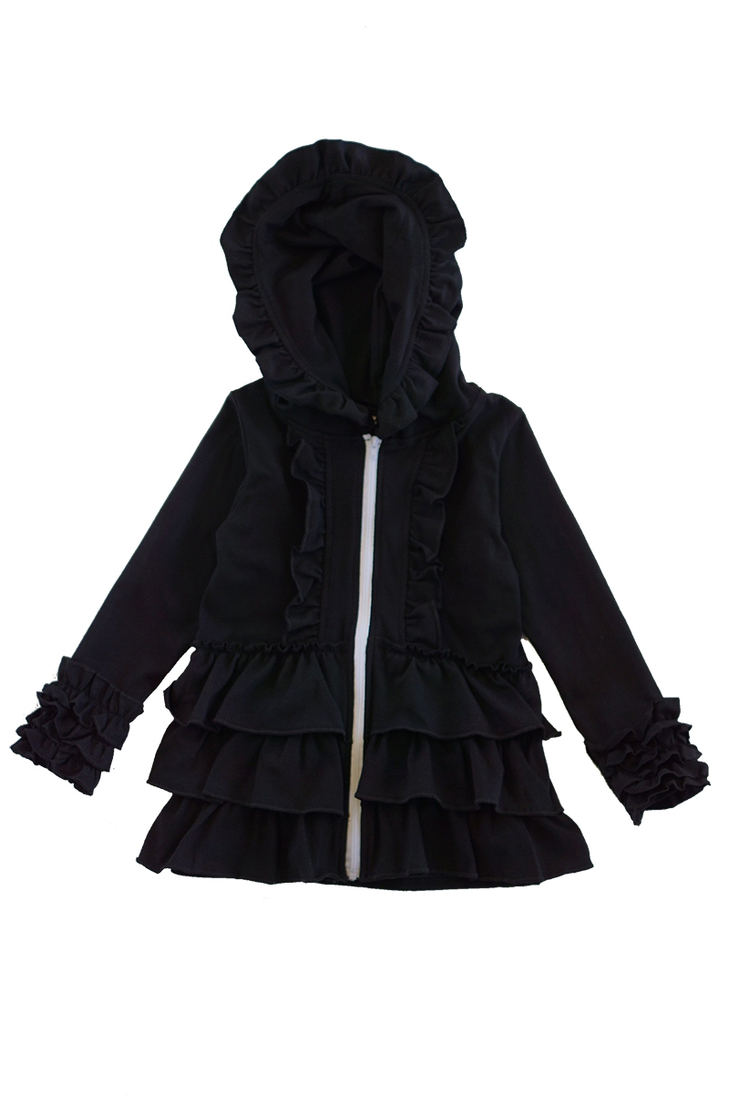 Black layered ruffle zip hoodie - orangeshine.com