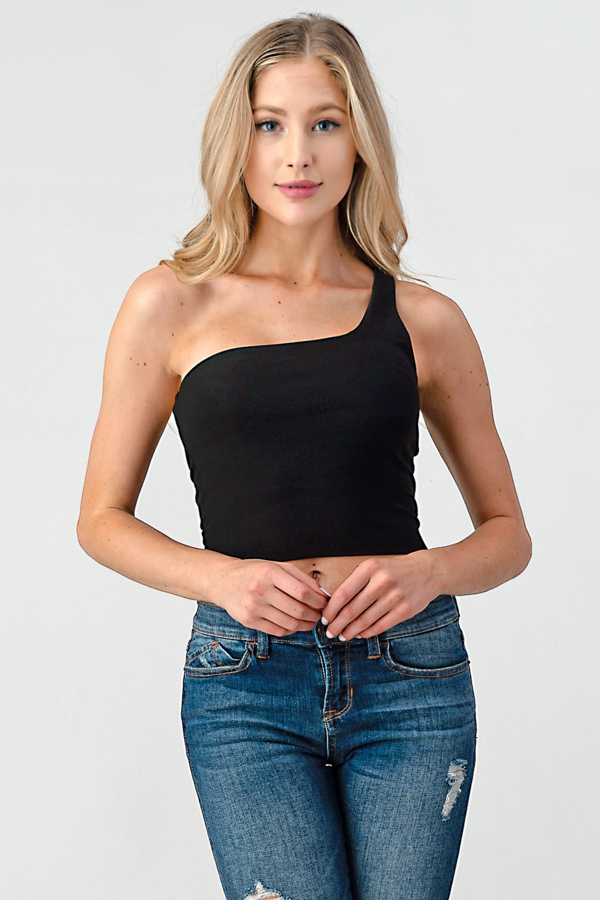 DOUBLE LAYER ONE SHOULDER CROP TOP - orangeshine.com