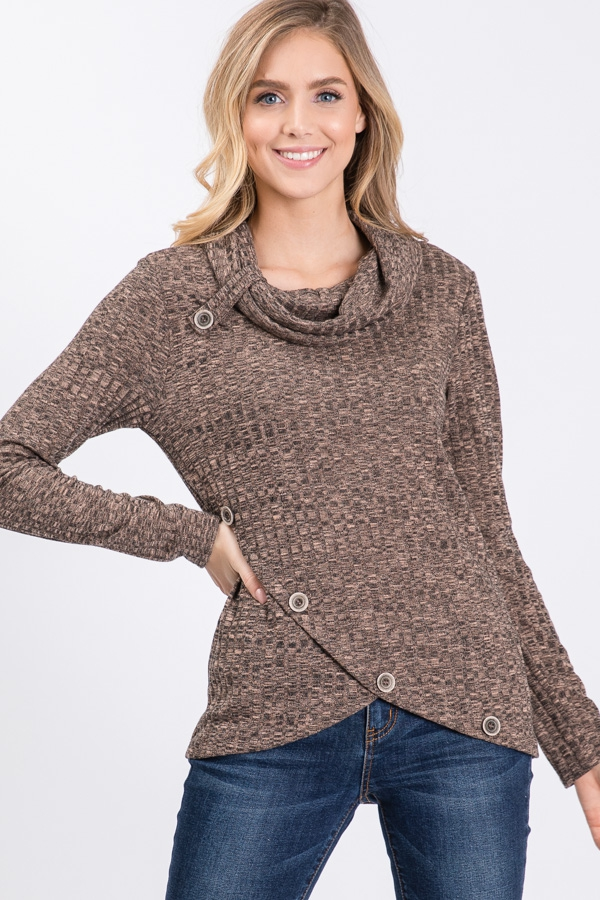 Rib Knit Hacci Button Detail Sweater - orangeshine.com