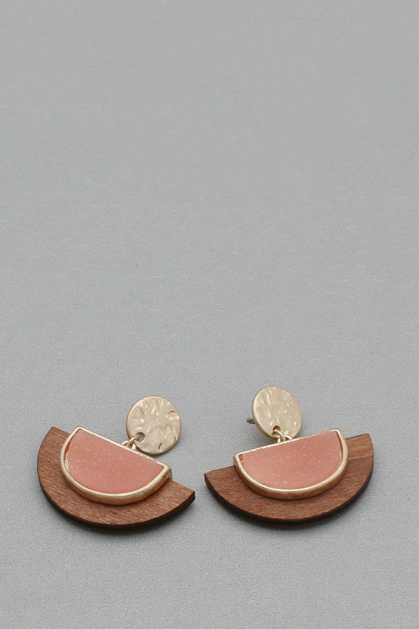 STONE WOOD  DANGLE EARRINGS - orangeshine.com
