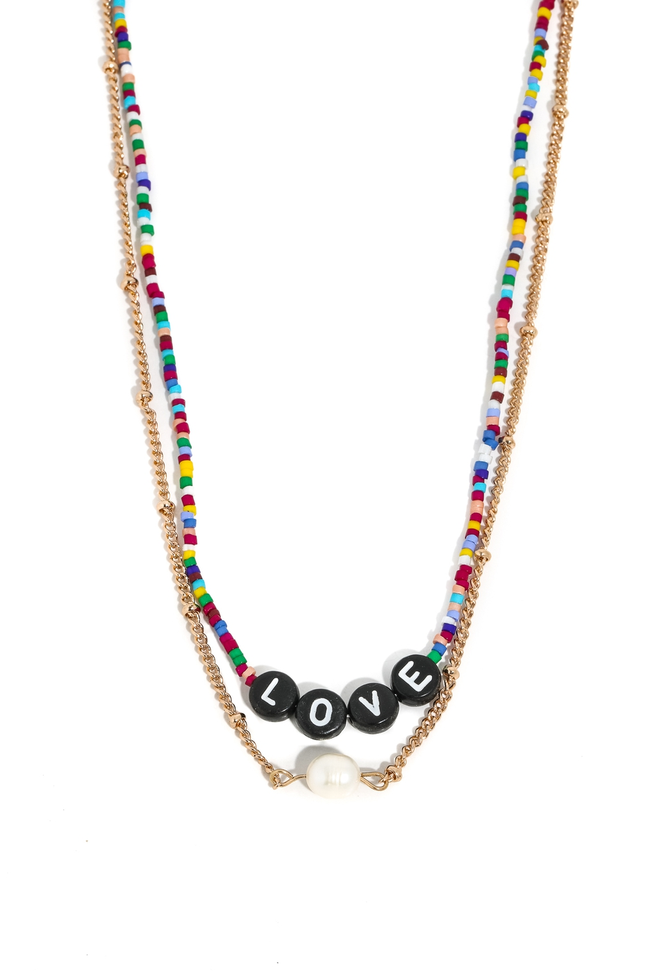 Chain And Beaded Love Necklace - orangeshine.com