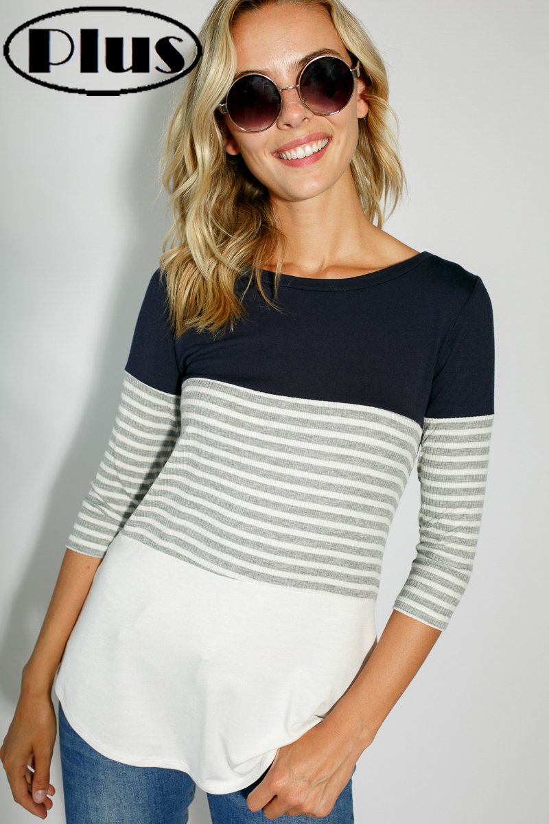COLOR BLOCK ROUND NECK PLUS TOP - orangeshine.com