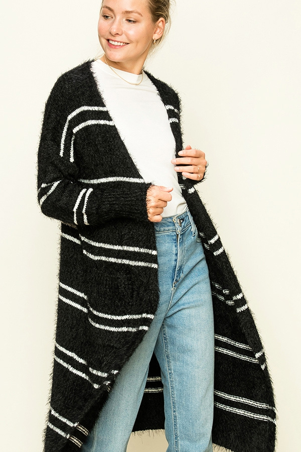BLOCK STRIPE FUZZYMAXI OPEN CARDIGAN - orangeshine.com