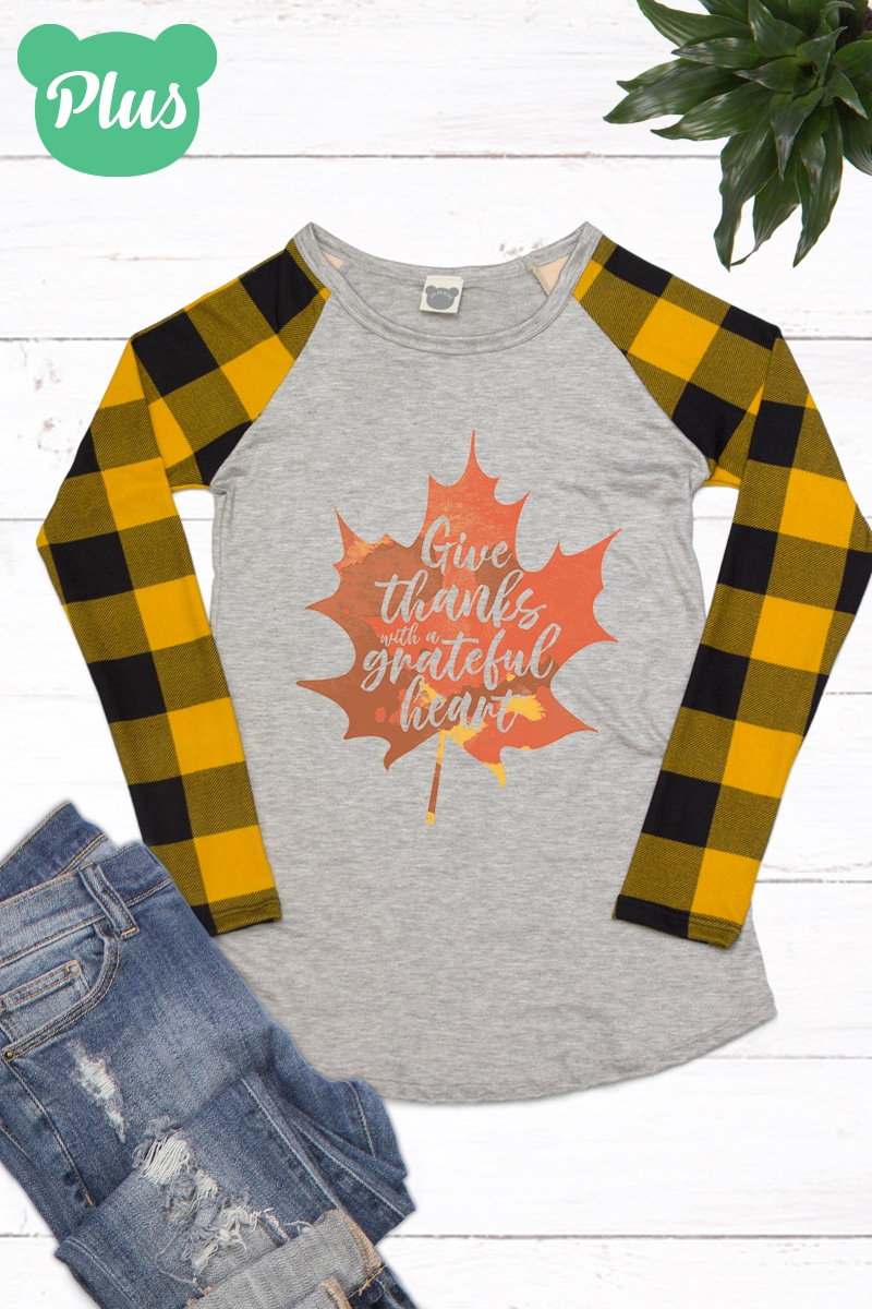 Plus Long Slv Plaid Raglan Tee - orangeshine.com