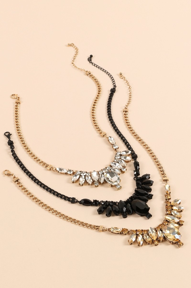 Crystal Stone Statement Necklace - orangeshine.com