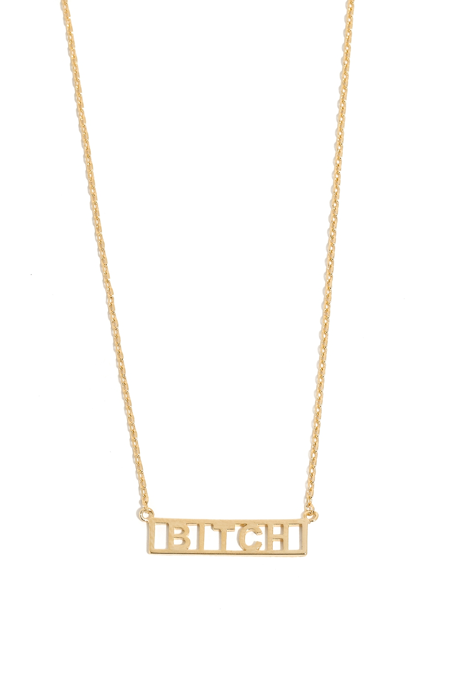 Bitch Box Text Pendant Necklace - orangeshine.com