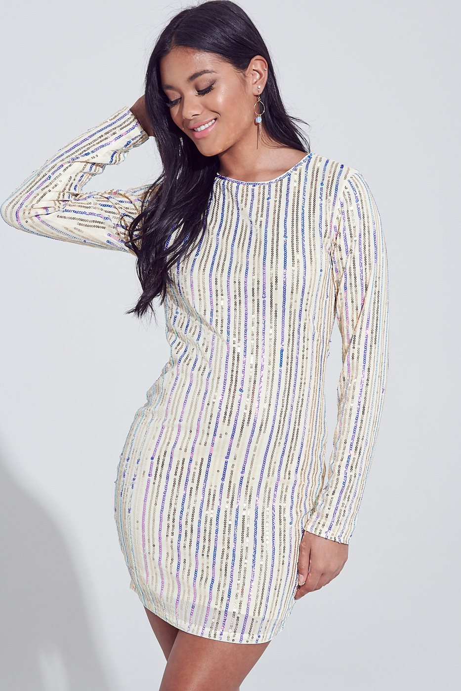 SEQUIN STRIPED MINI DRESS - orangeshine.com
