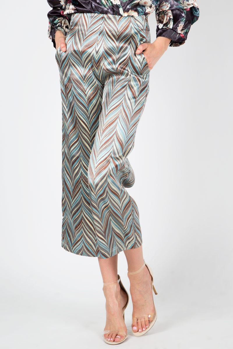 Chevron patterned jacquard Trousers - orangeshine.com