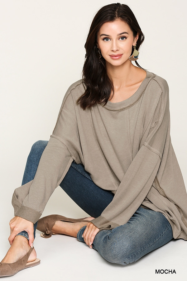 Terry Boat Neck Loose Fit Top - orangeshine.com