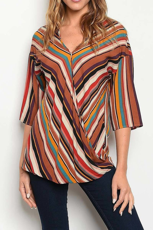 MULTI STRIPE PRINT WRAP TOP - orangeshine.com