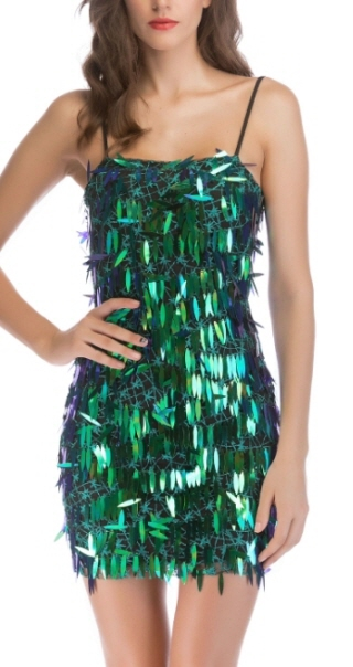 Backless long sequins mini dress - orangeshine.com