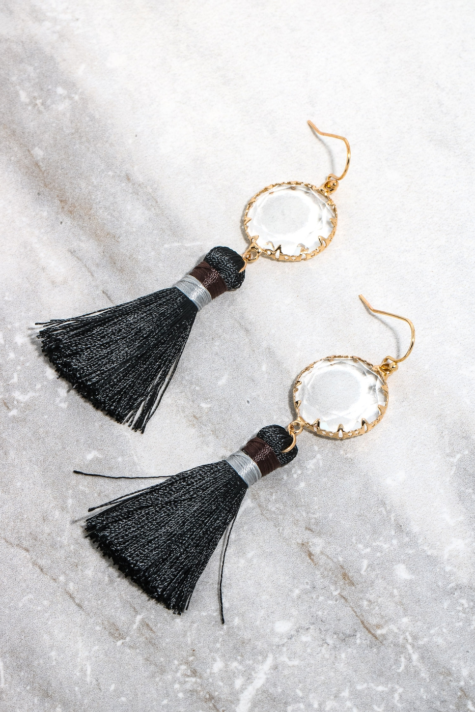 Rhinestone Tassel Drop Earrings - orangeshine.com