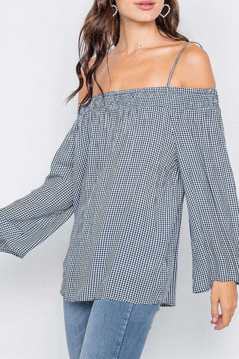 GINGHAM PLAID OFF-THE-SHOULDER TOP  - orangeshine.com