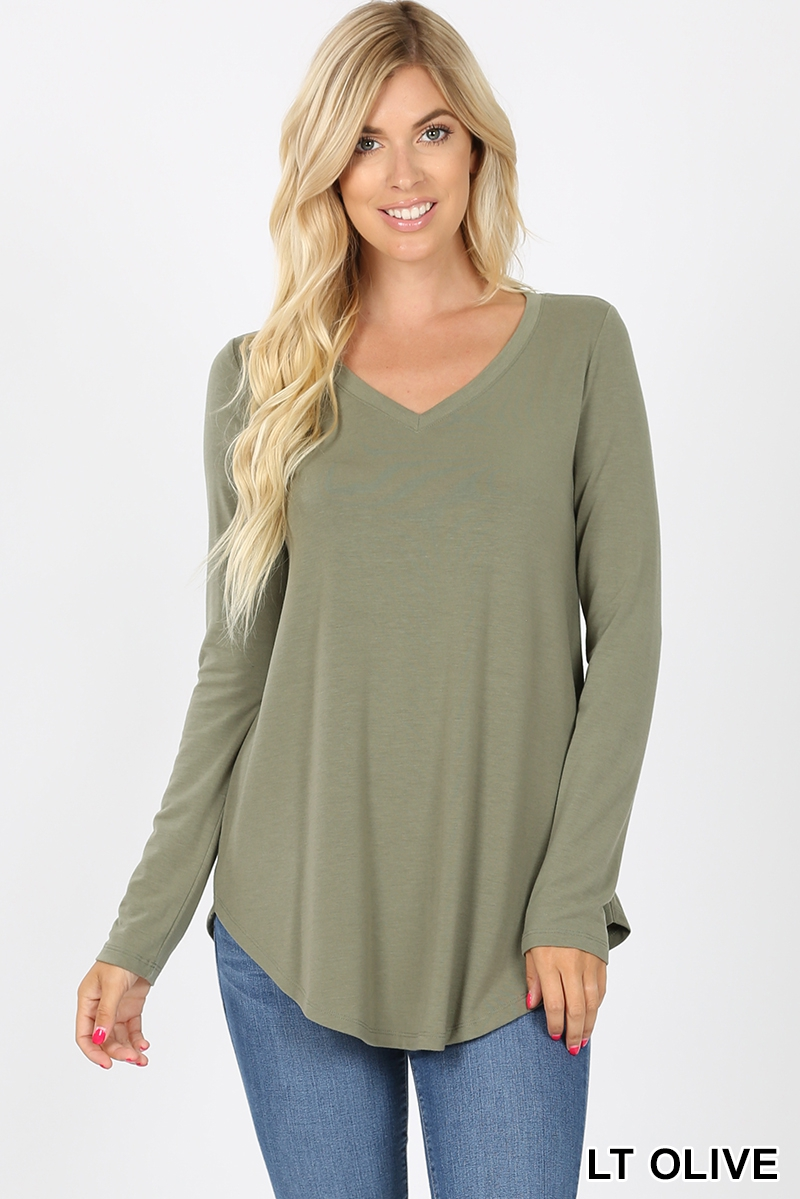 PREMIUM LONG SLEEVE V-NECK ROUND HEM - orangeshine.com