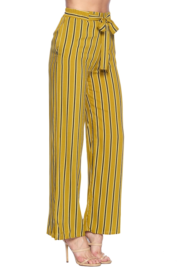 STRIPED PALAZZO PANTS SELF TIE - orangeshine.com