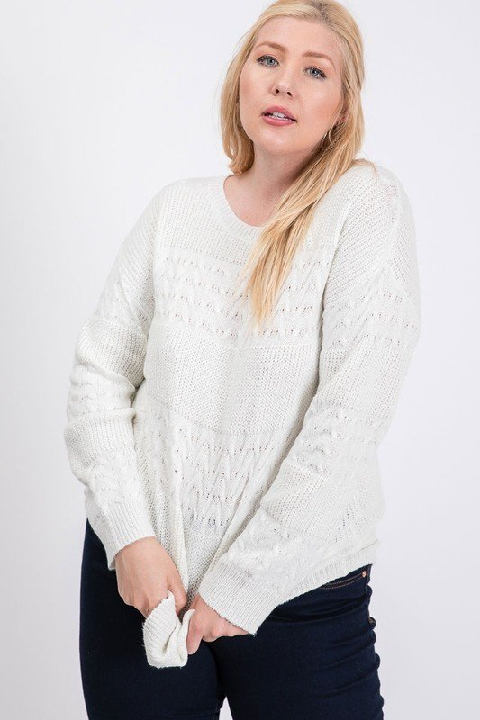CABLE KNIT LIGHT SWEATER - orangeshine.com