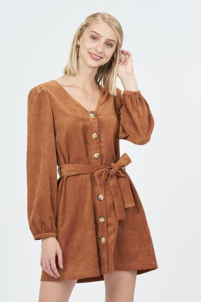 CORDED SOLID DRESS WITH FRONT BUTTON - orangeshine.com