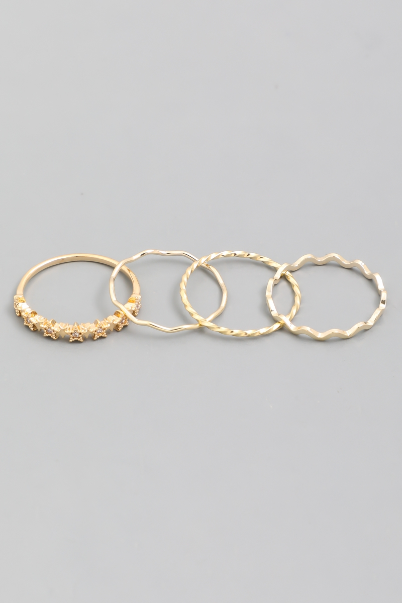 Textured Wave Ring Set - orangeshine.com