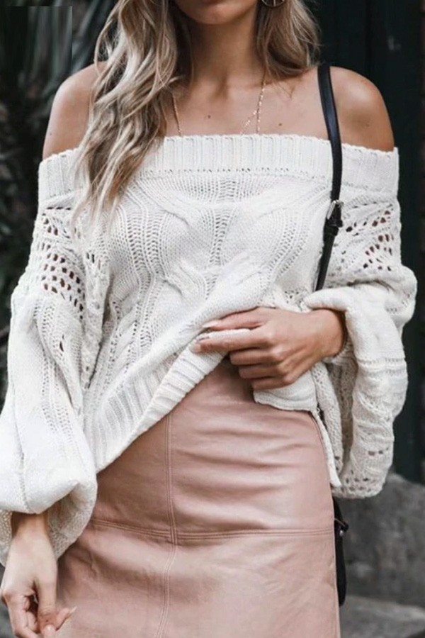 CASUAL WOMEN SHOULDER SWEATER - orangeshine.com