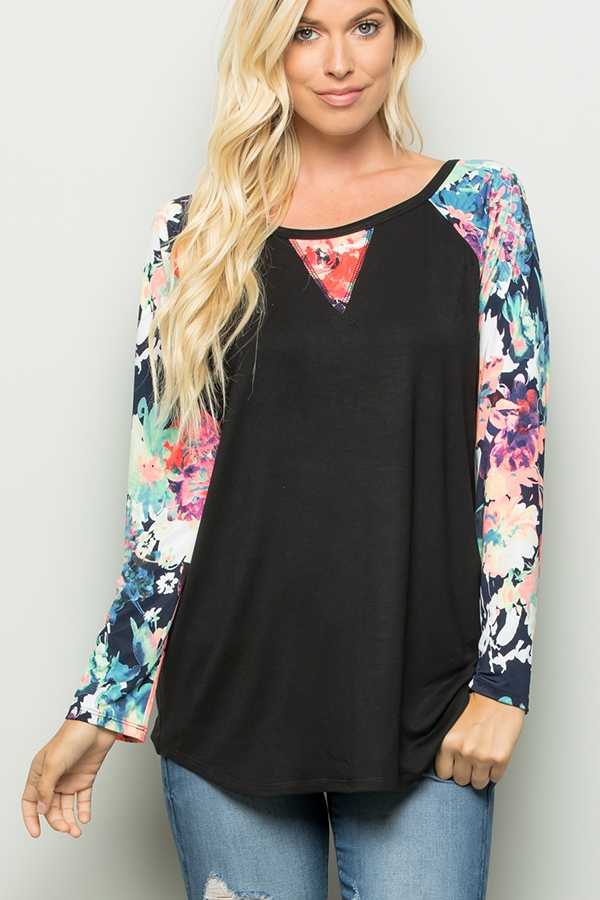SOLID AND FLORAL PRINT CONTRAST TOP - orangeshine.com