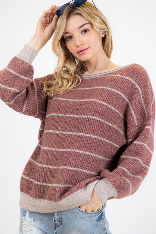 STRIPE OVERSIZED LONGLINE SWEATER - orangeshine.com