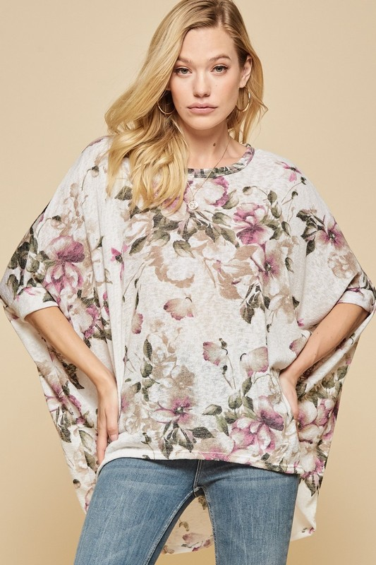FLORAL DOLMAN SLEEVE TOP - orangeshine.com