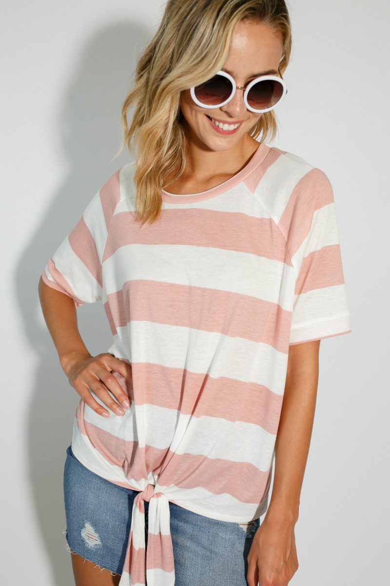 BIG STRIPE FRONT TIE ROUND NECK TOP - orangeshine.com