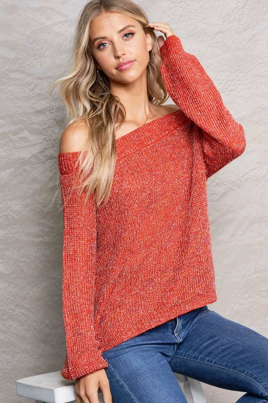 Off-The-Shoulder Light Weight Sweate - orangeshine.com