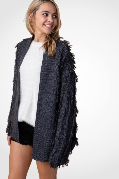 FRINGE DETAILED THICK KNIT CARDIGAN - orangeshine.com