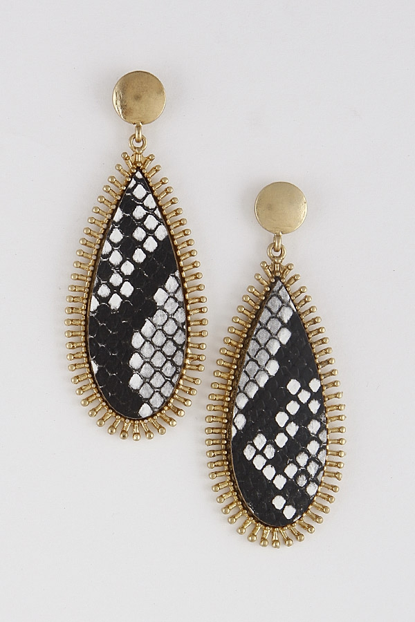 Animal Print Teardrop Earrings - orangeshine.com