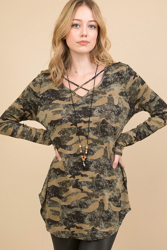 CAMO PRINT CRISSCROSS V-NECK TOP - orangeshine.com
