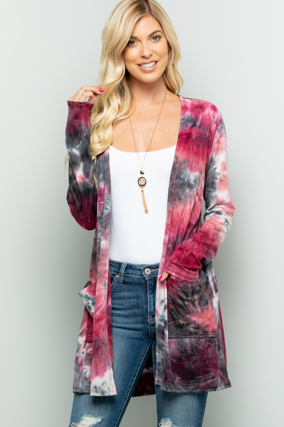 TIE DYE LONG CARDIGAN WITH POCKETS - orangeshine.com
