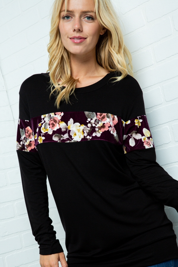SOLID LONG SLEEVES TOP WITH FLORAL S - orangeshine.com