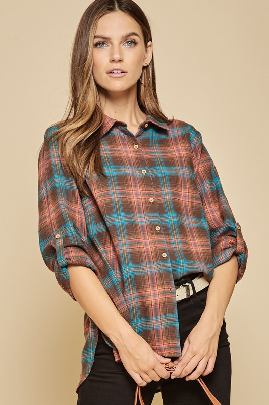 PLAID SHIRT TOP - orangeshine.com