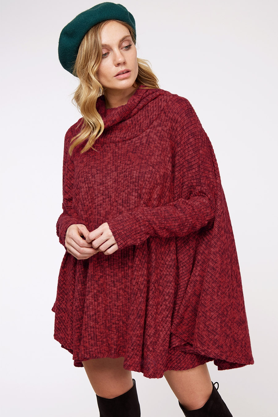 Cowl Neck Sweater Poncho - orangeshine.com