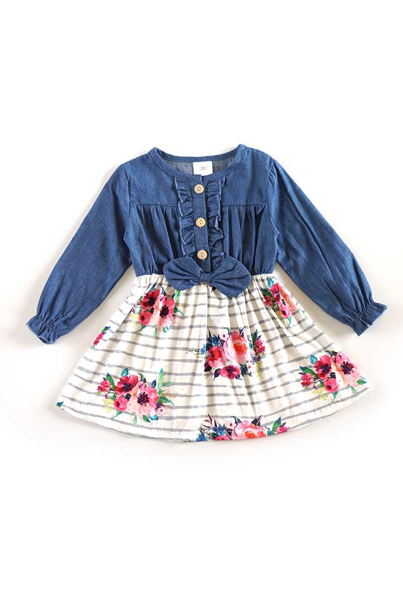 Stripe floral denim dop dress - orangeshine.com