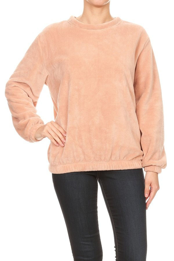 Womens Faux Fur Pullover Sweaters - orangeshine.com