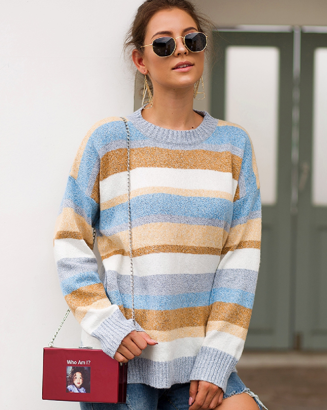 Long Sleeve Striped Pullover Sweater - orangeshine.com
