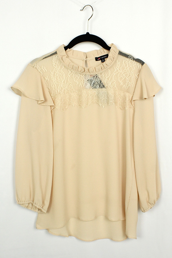Mesh Shoulder Long Sleeve Blouse  - orangeshine.com