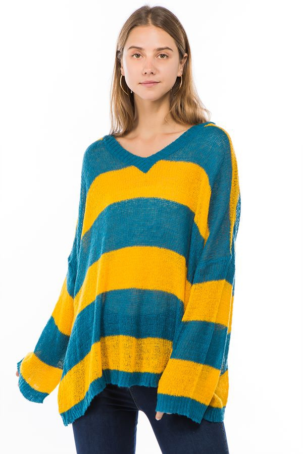 V neck striped knit sweater - orangeshine.com