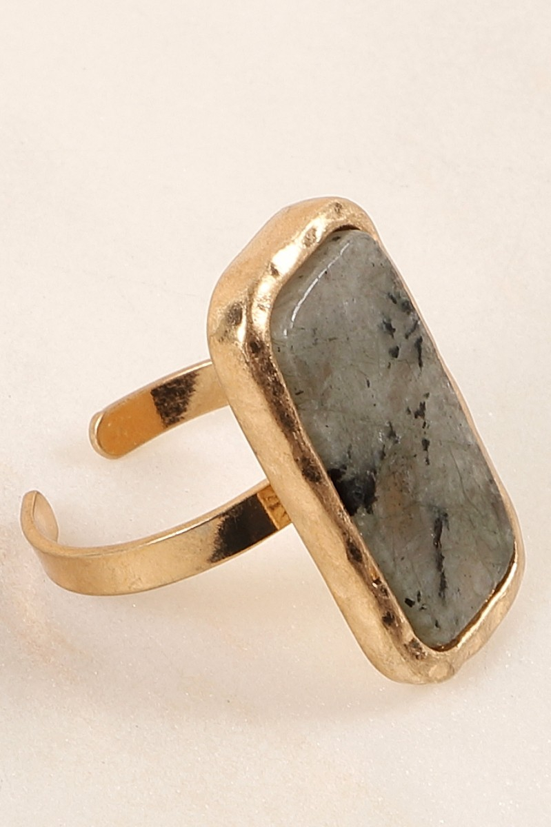 Rectangle Stone Adjustable Ring - orangeshine.com