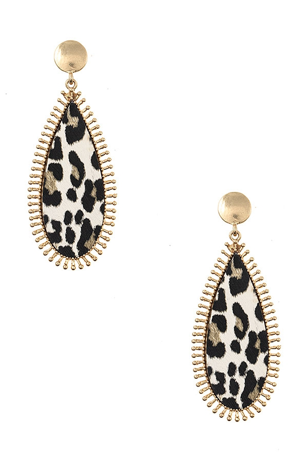 DOTTED FRMAED OBLONG EARRING - orangeshine.com
