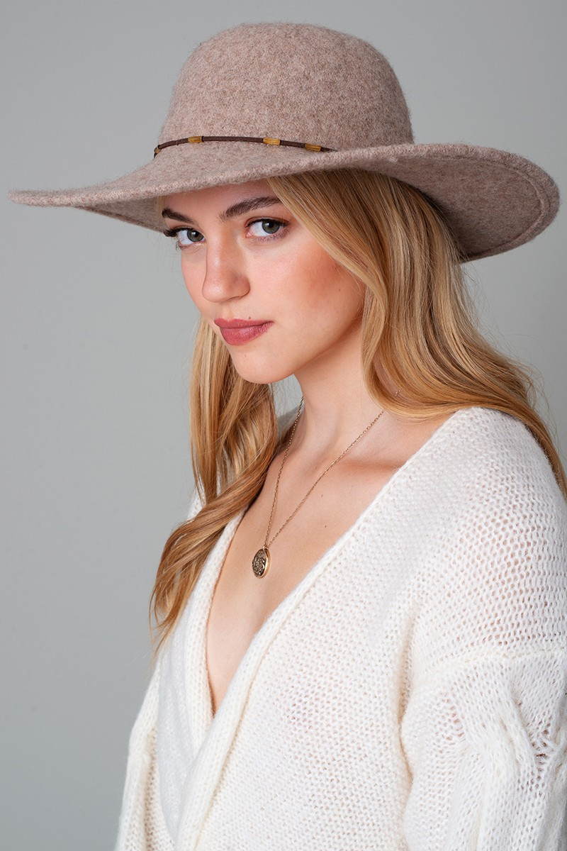 Gold Bead Suede Strap Wide Brim Hat - orangeshine.com