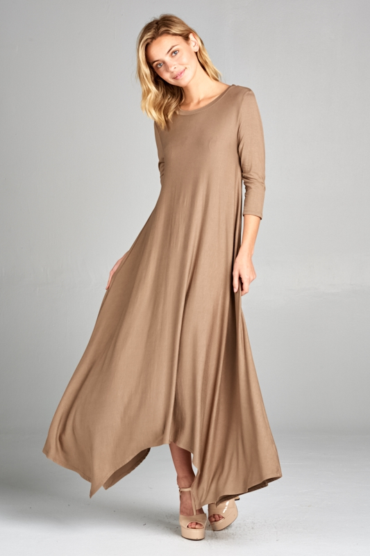 3/4 SLEEVE HANKY BOTTOM MAXI DRESS - orangeshine.com